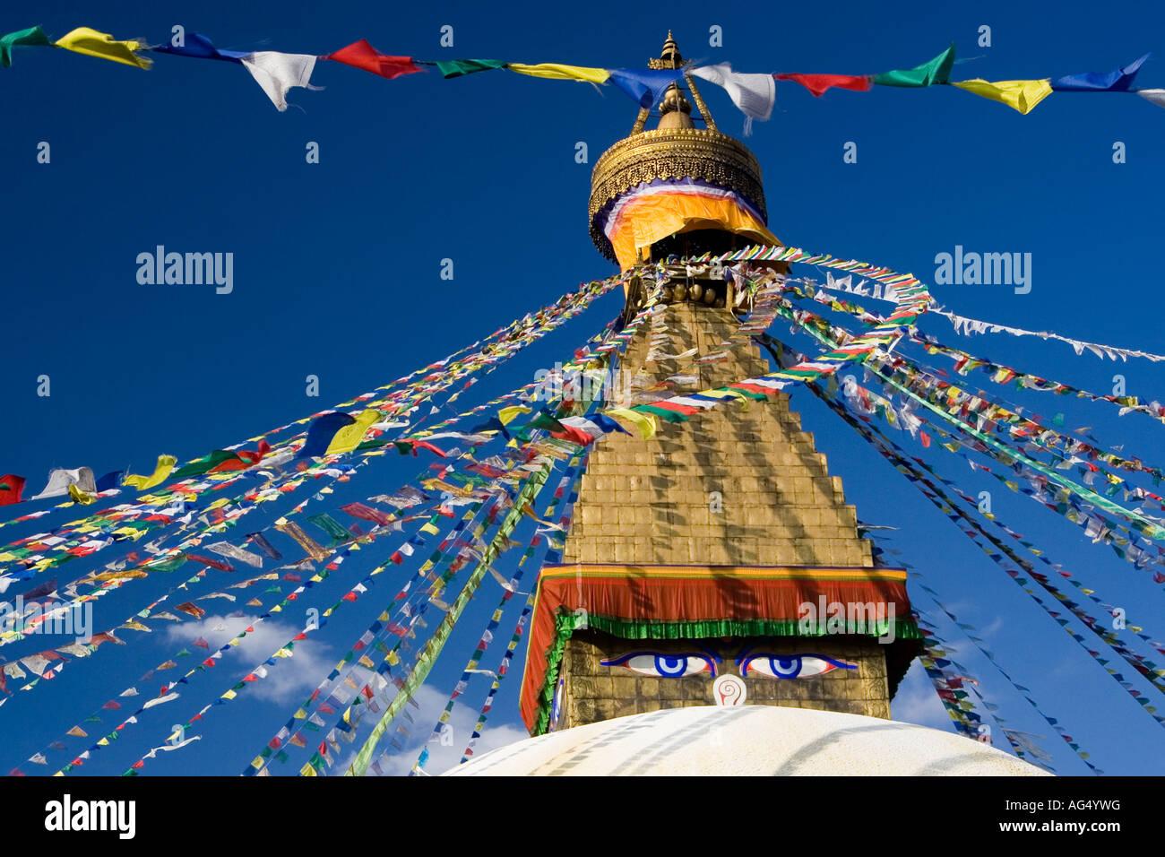 Prayer flags on Bodnath Stupa, Kathmandu - Stock Image