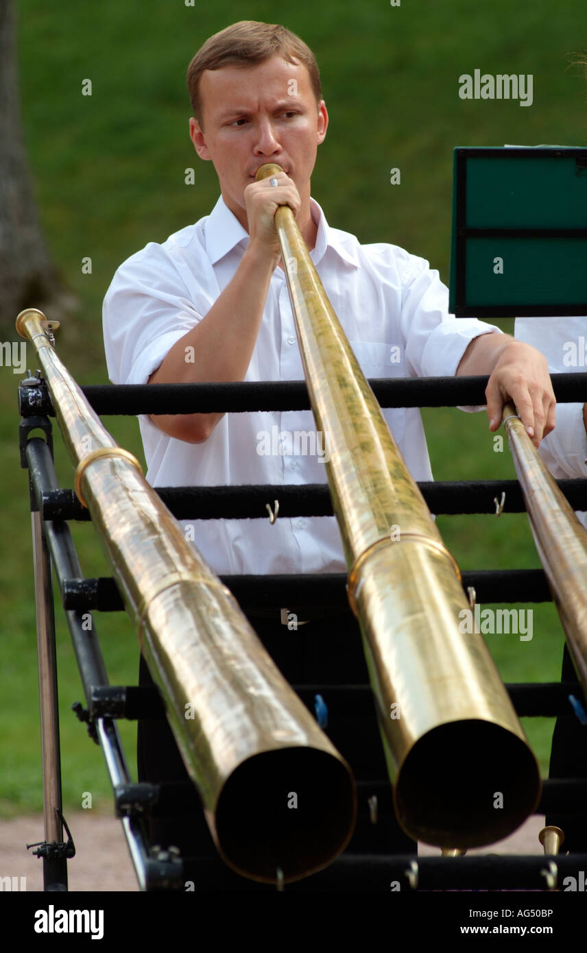 Blowing Playing Brass Instruments Stock Photos & Blowing