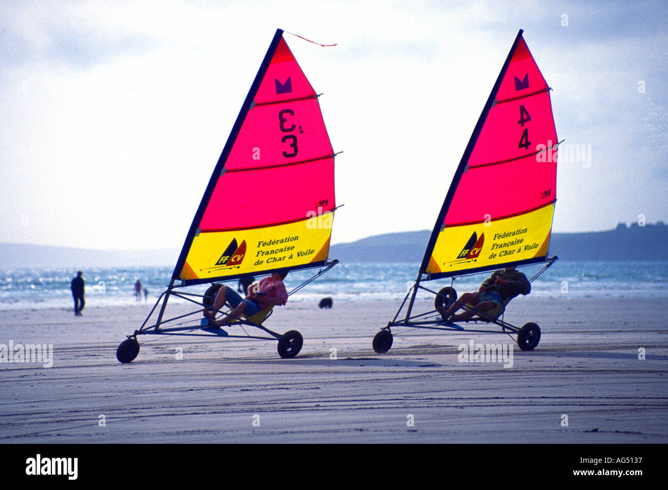 Sand yachting Brittany France - Stock Image
