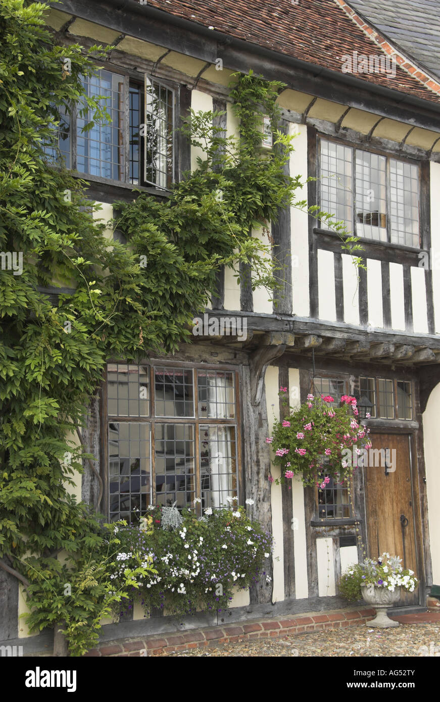 Lavenham Half timbered house with hanging baskets and climbing plants - Stock Image