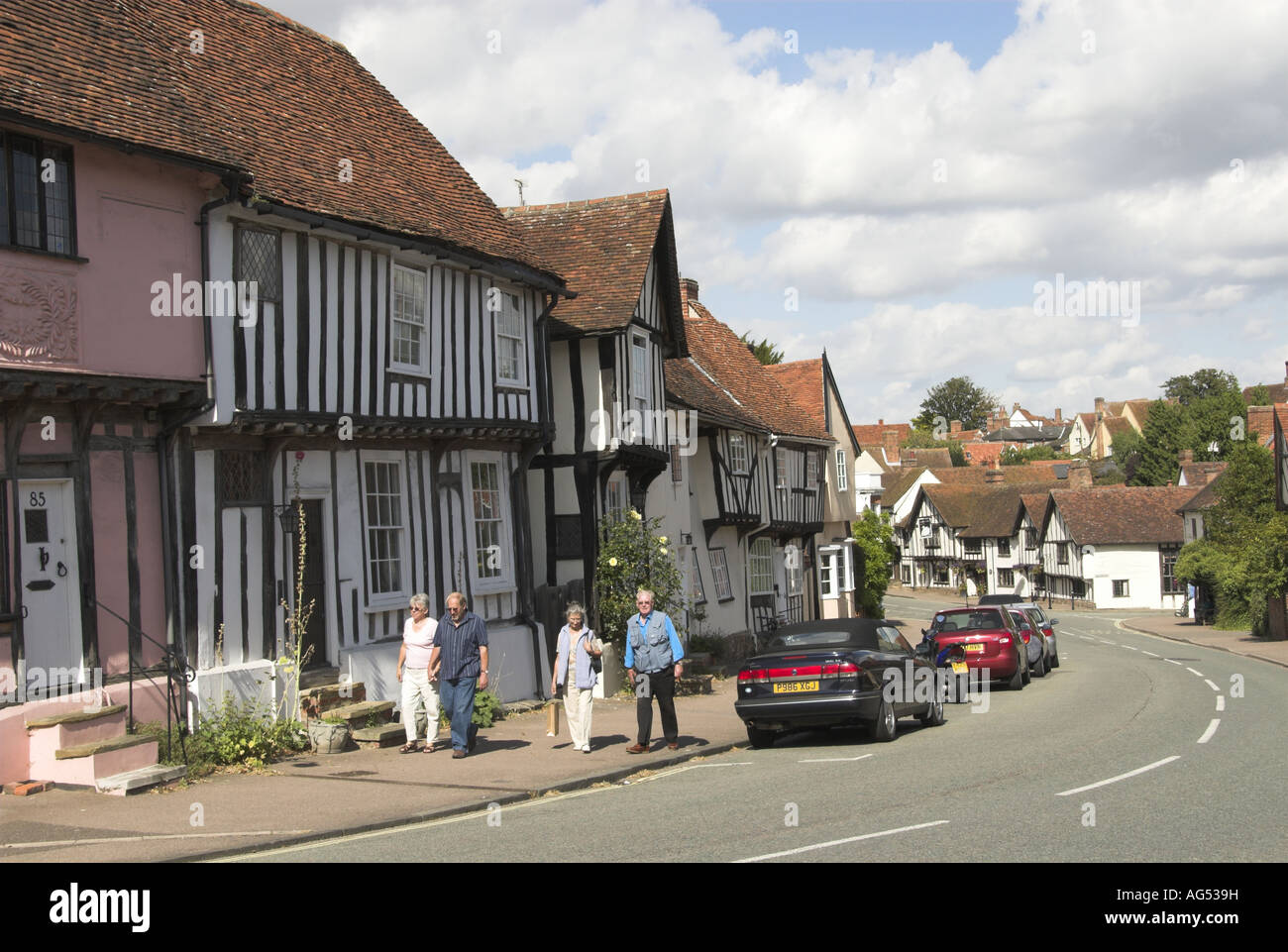 View of Lavenham medieval Village Showing the Swan public House Hotel Suffolk England - Stock Image