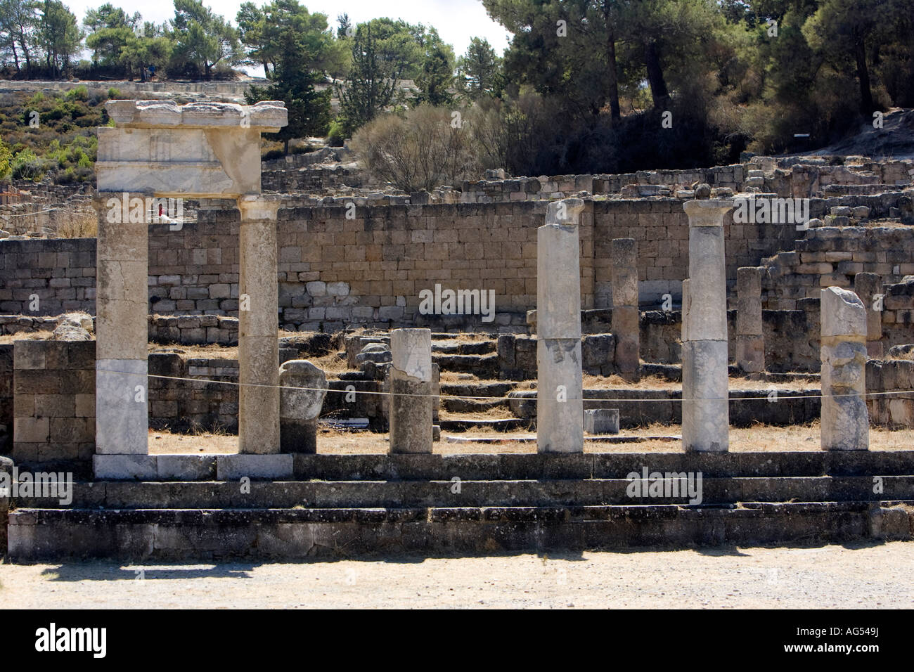 Ancient Kameiros, ruined dwellings and temples dating back to the Hellenistic period on the Greek island of Rhodes - Stock Image