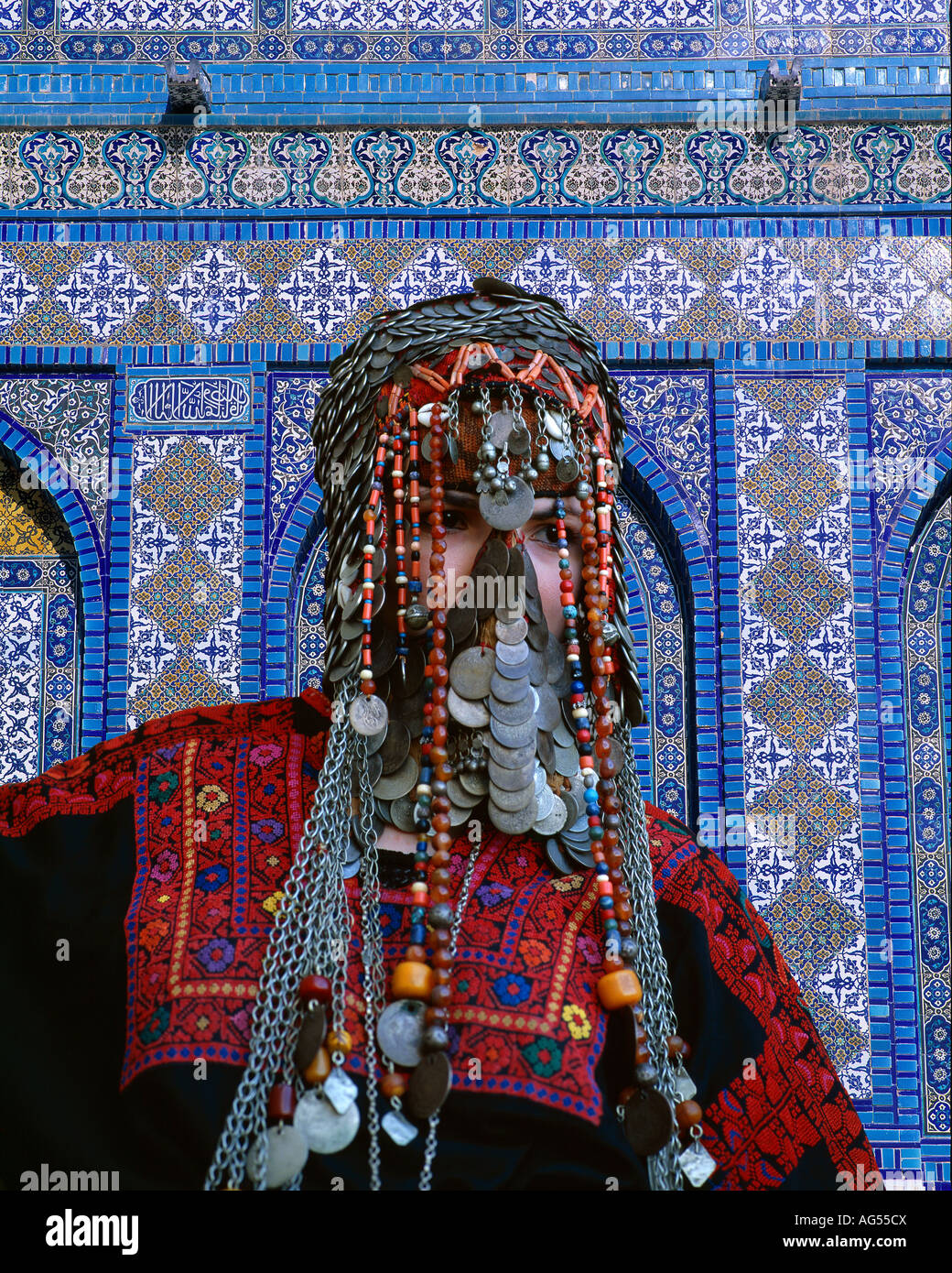 Beduoin bride, Jerusalem, Israel with a mosaic background from the Dome of the Rock - Stock Image