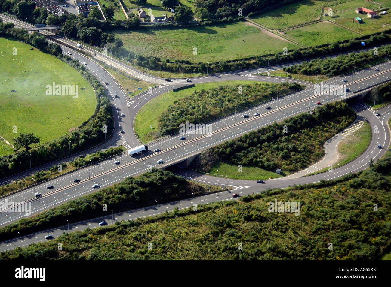 Motorway junction between M5 and M50 near Malvern Worcestershire - Stock Image