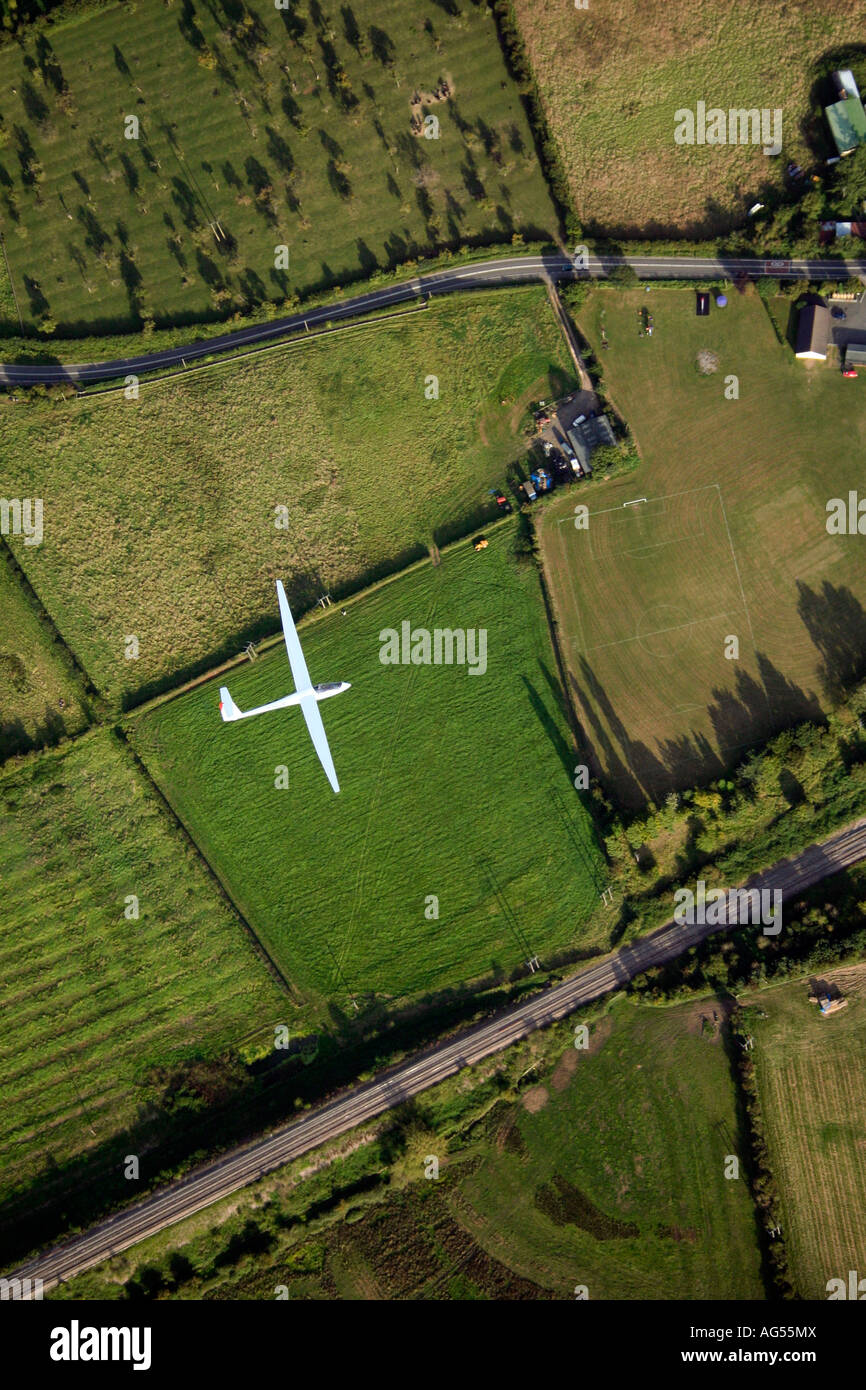 Looking directly down onto a sailplane glider circling in a thermal over rural Worcestershire UK - Stock Image