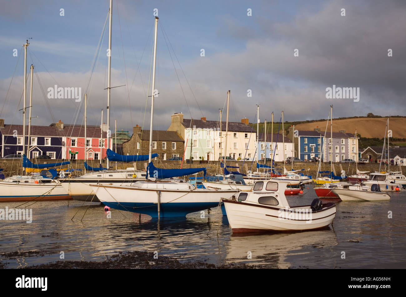 View across muddy harbour at low tide with boats moored and quayside houses in seaside town Aberaeron Ceredigion - Stock Image