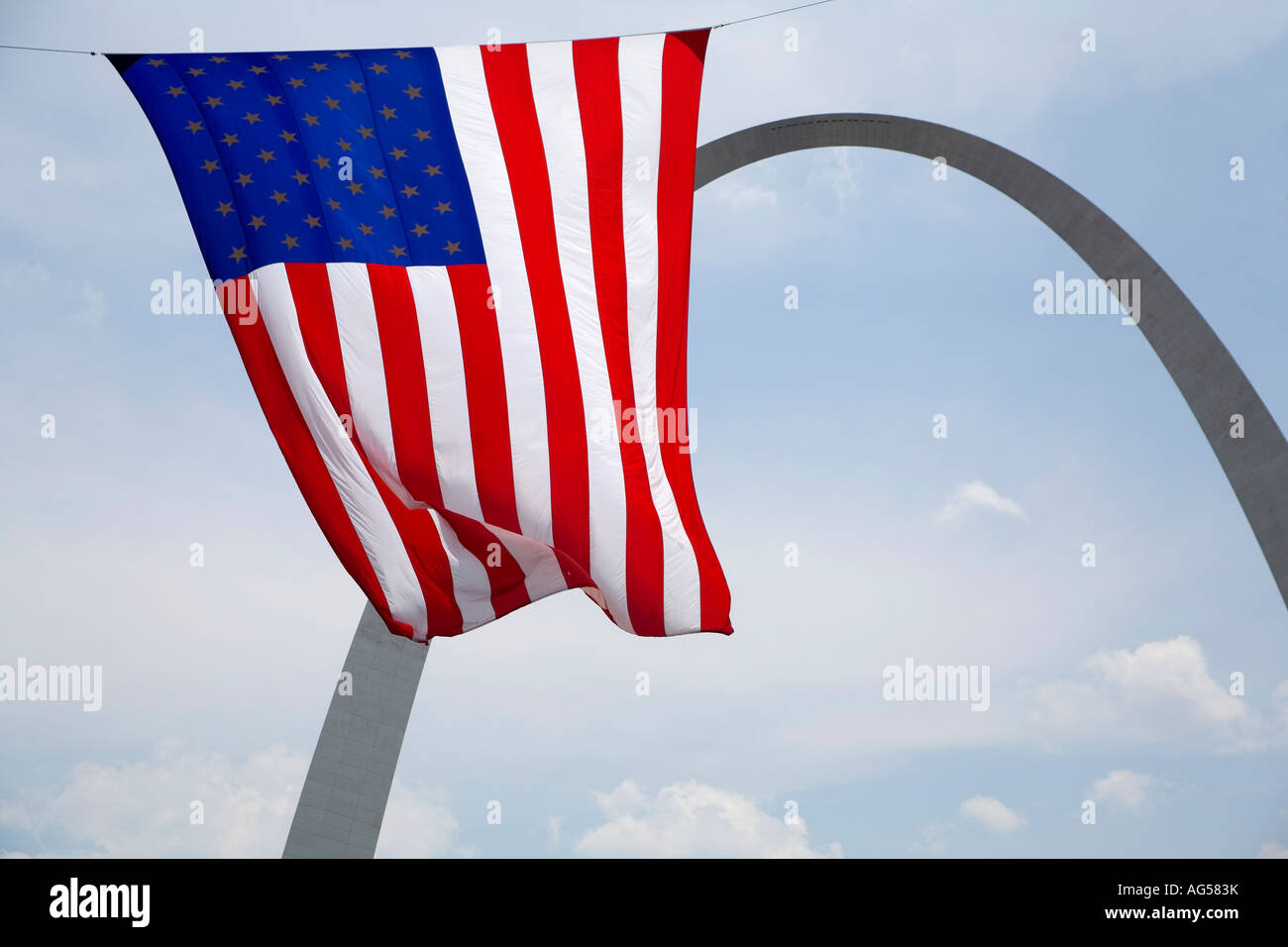 Fourth of July Gateway Arch with American flag in St Louis, Missouri - Stock Image