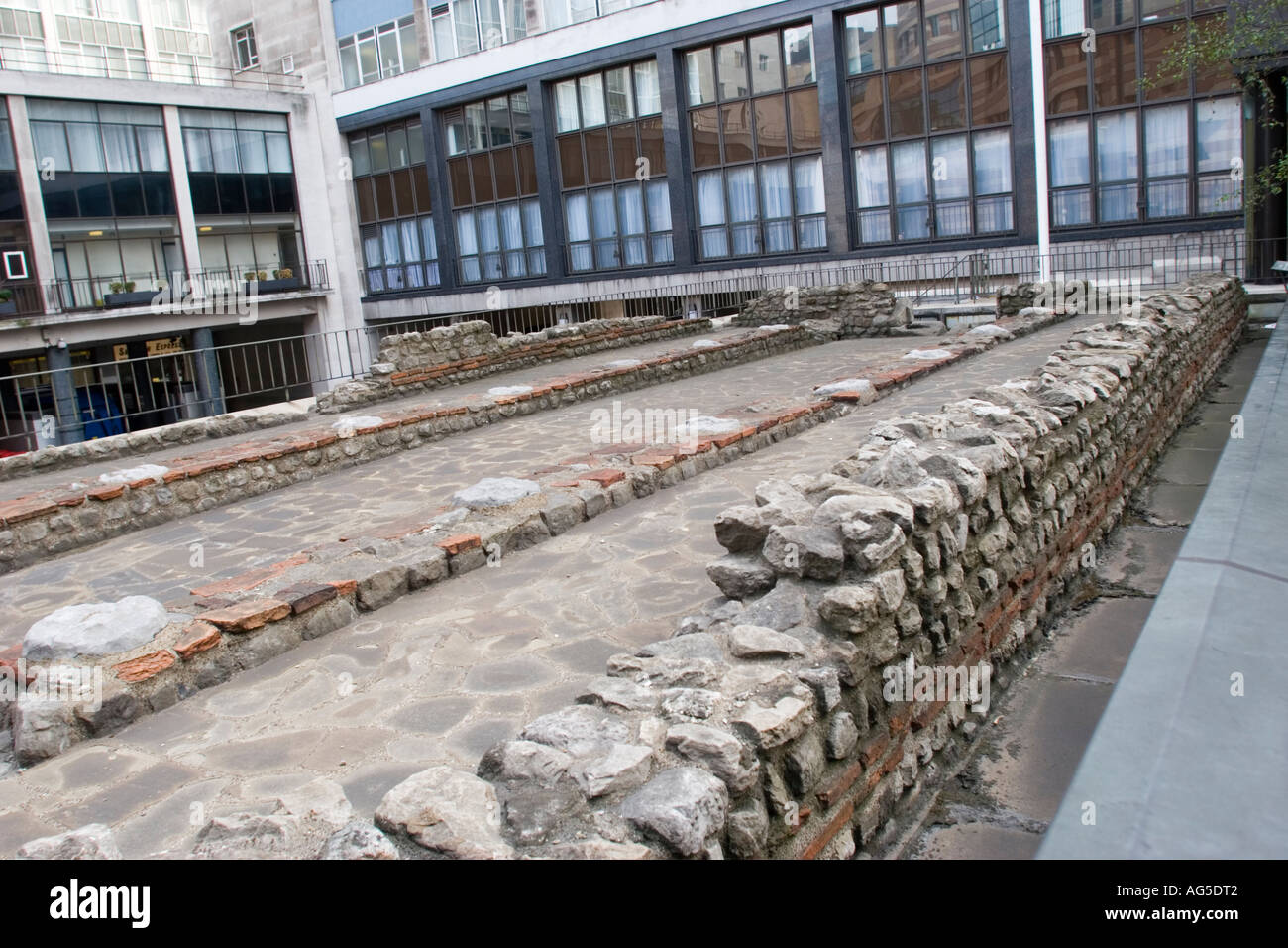 Ruins of the Temple of Mithras in Queen Victoria Street in the City of London GB UK - Stock Image