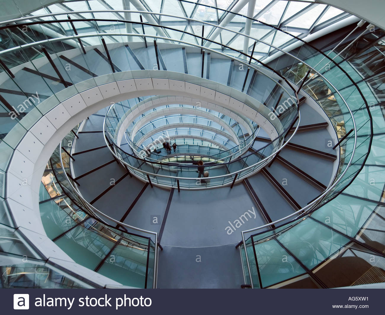 Spiral staircase inside the london city hall on the south for Square spiral staircase plans hall