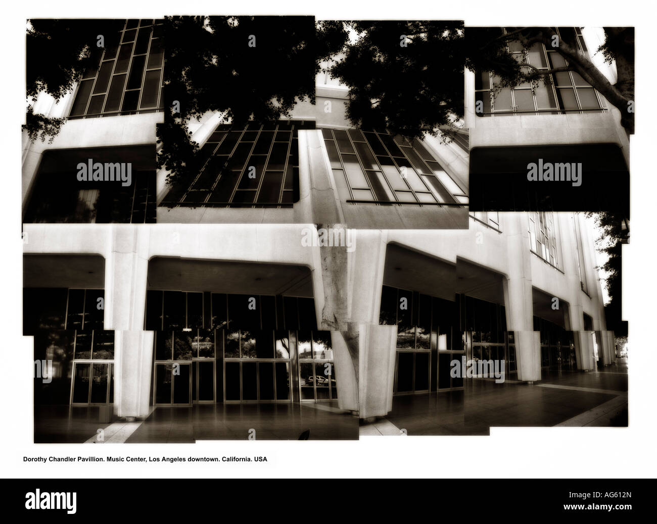 Collage image of Dorothy Chandler Pavillion. Los Angeles Music Center. Los Angeles downtown. California. USA - Stock Image