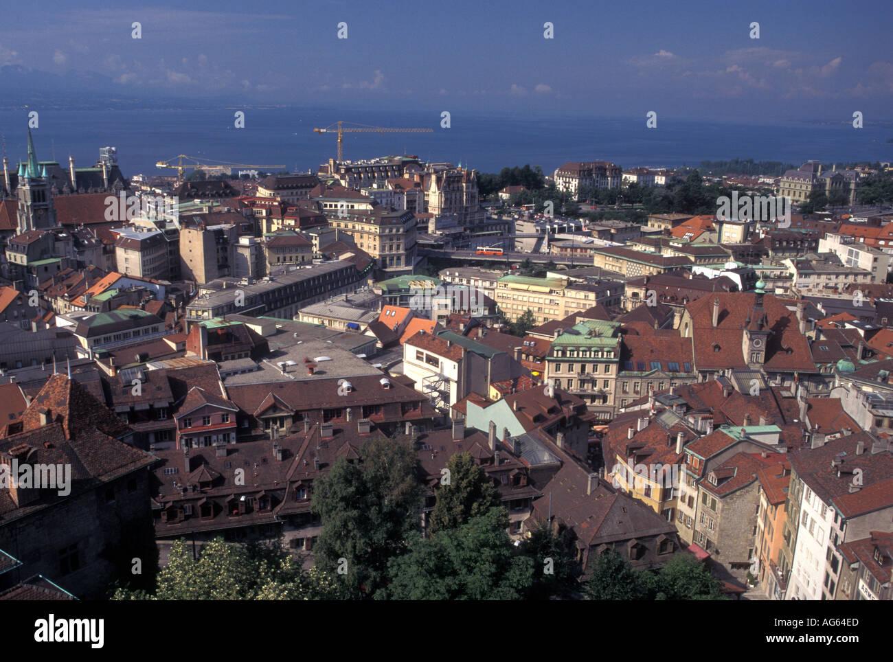 AJ16286, Lausanne, Switzerland, Vaud, Lake Geneva - Stock Image