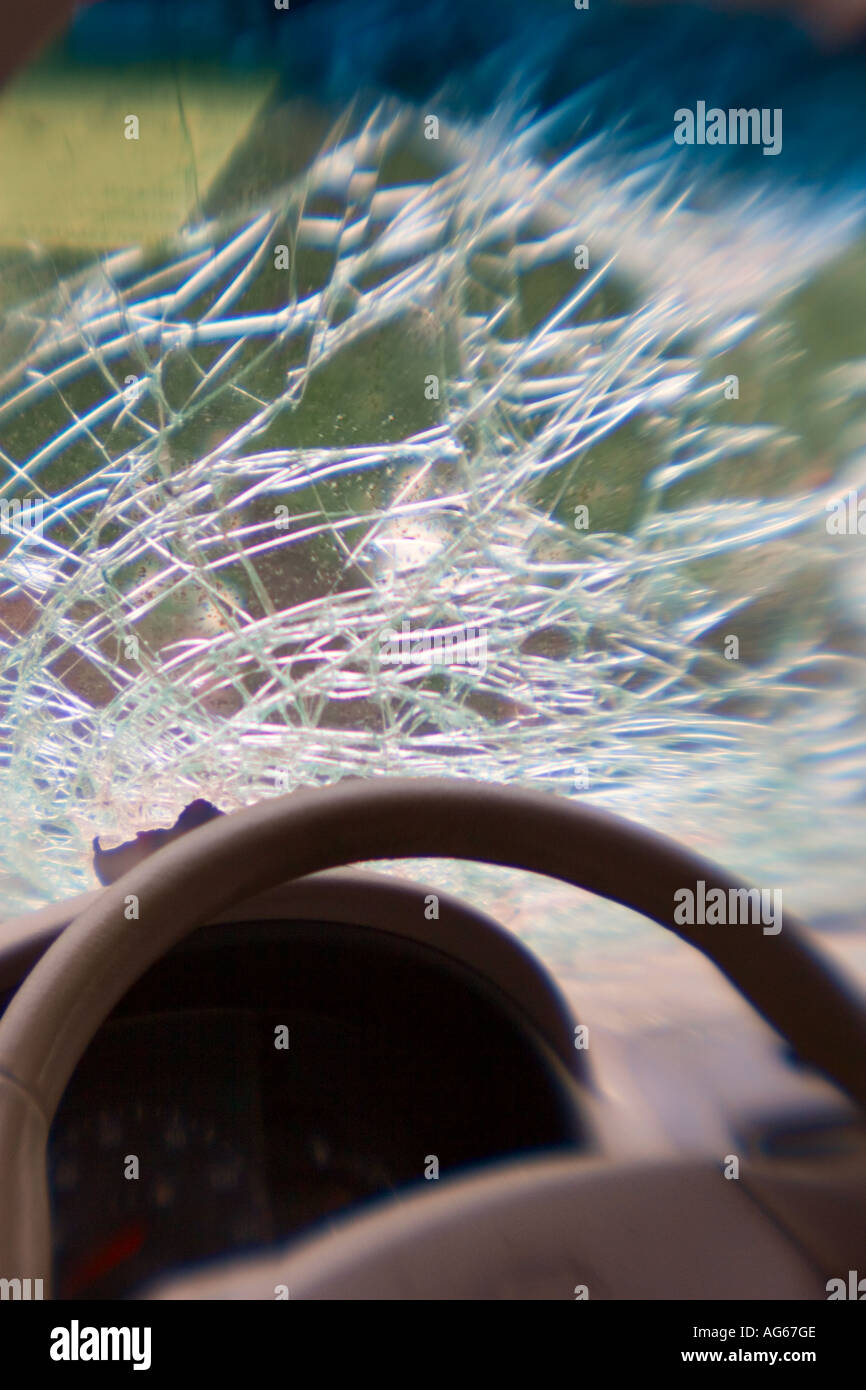 Shattered Windshield after car accident, New York, USA - Stock Image