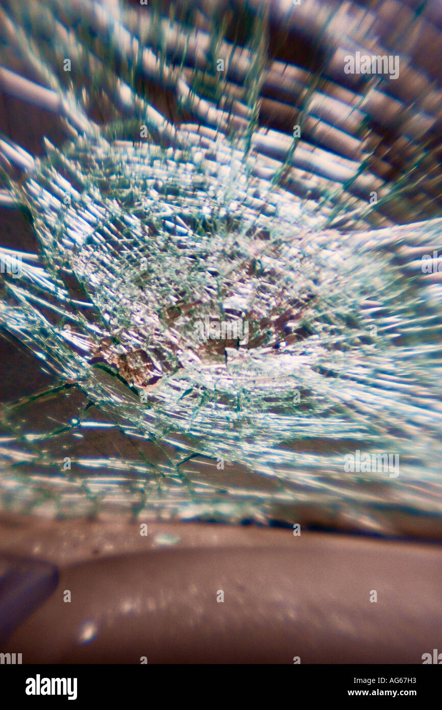 Shattered Windshield after car accident. - Stock Image