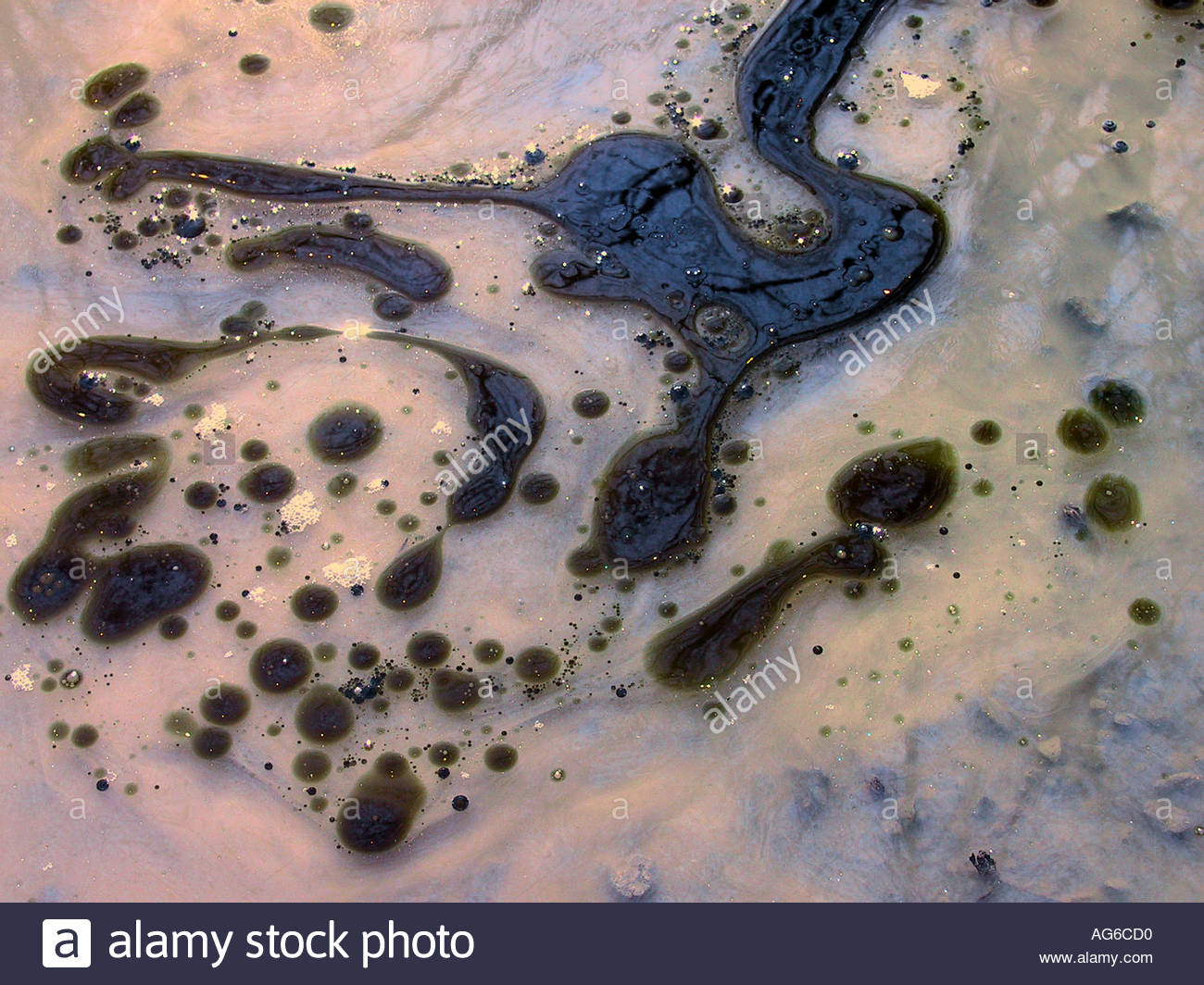 Spilled oil on water surface  Stock Photo