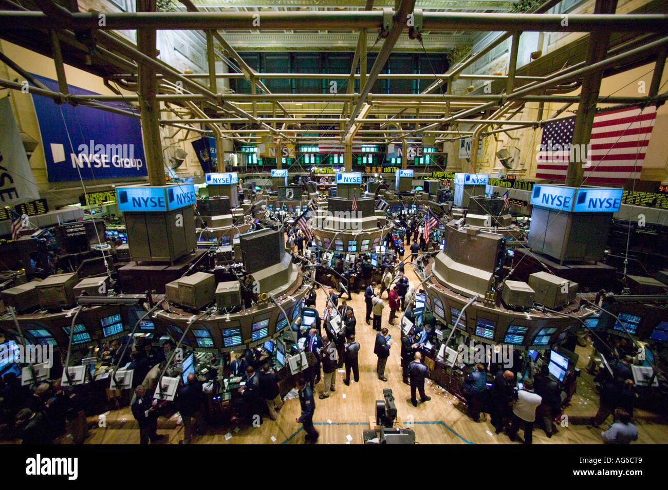 wide angle view of the main trading room at the nyse in new york