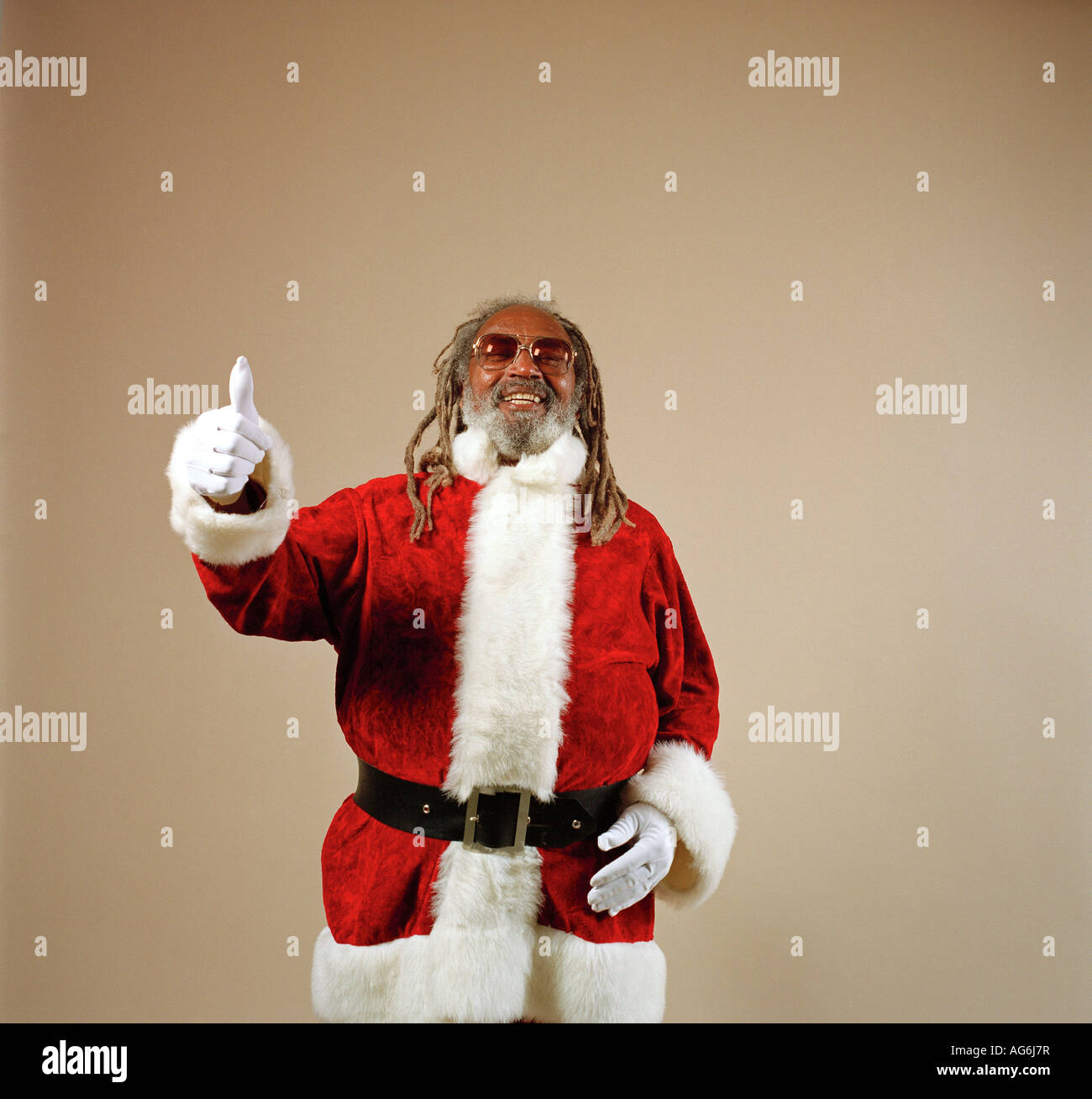 African American Santa Claus Giving A Thumbs Up - Stock Image
