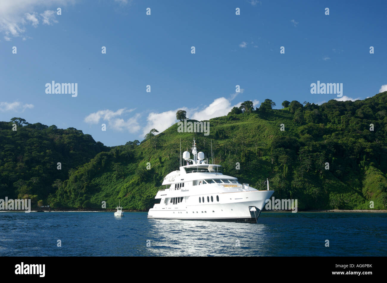 A private yacht at anchor in Cocos Island Costa Rica - Stock Image