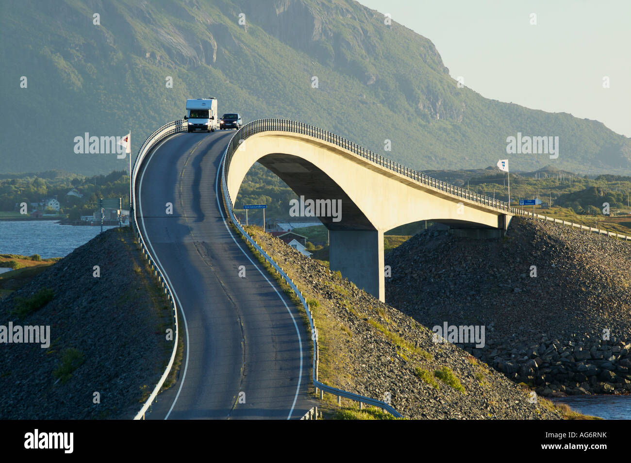 The Atlantic Road More og Romsdal Norway With a car on the ...