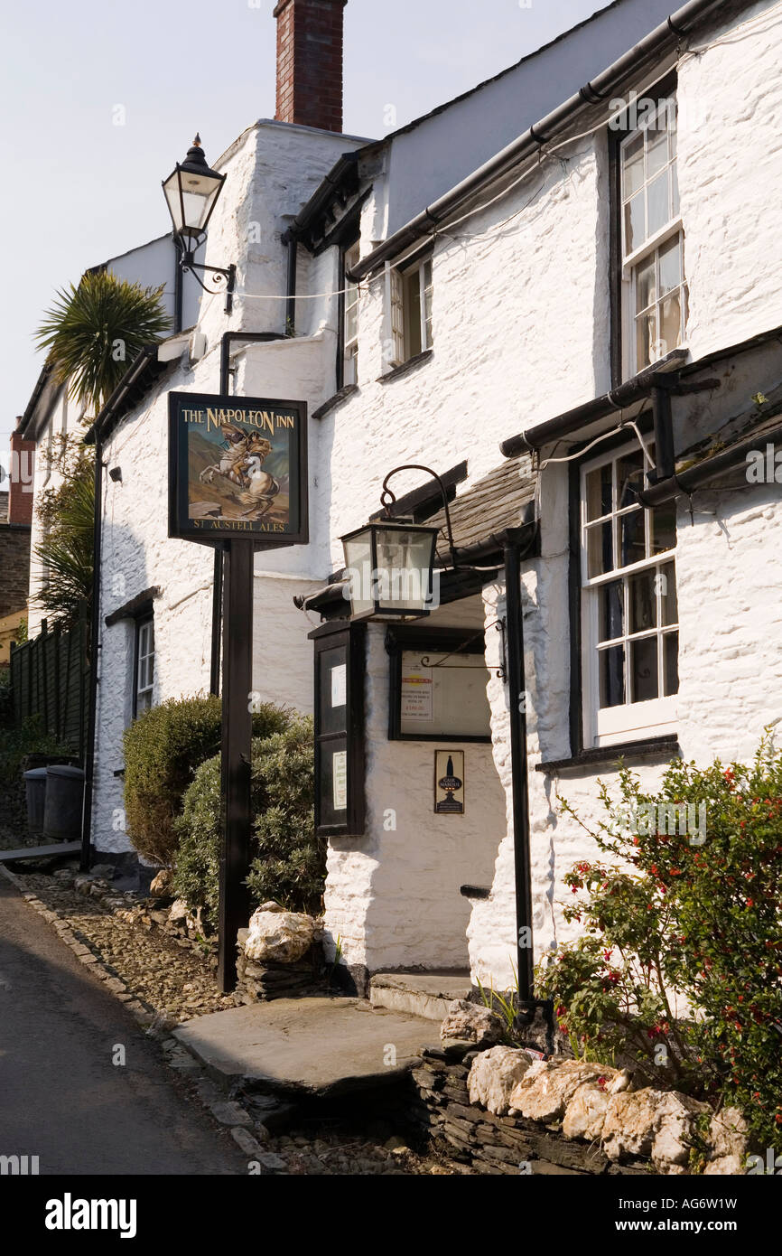 UK Cornwall Boscastle Upper Town High Street the Napoleon Inn - Stock Image
