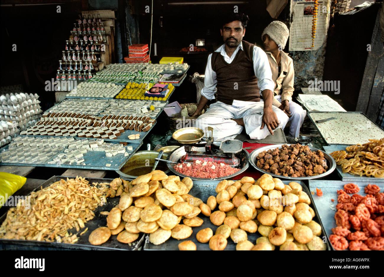 India Uttar Pradesh Agra sweet stall - Stock Image