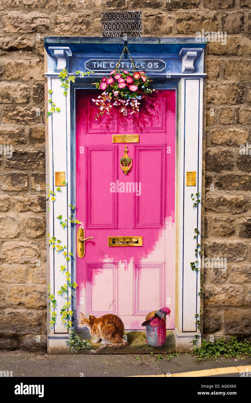 trompe doeil door painting by local university of third age artists - Stock Image