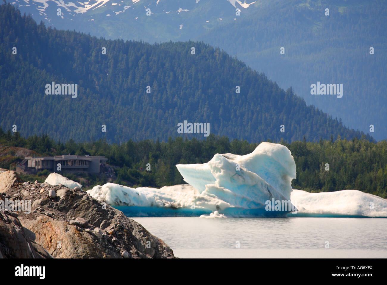 Mendenhall Glacier and lake Juneau Alaska - Stock Image