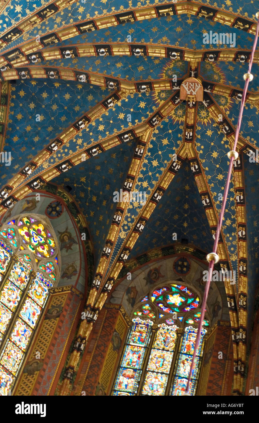 Interior Architectural Detail Painted Ceiling And Stained Glass Windows StMarys Basilica Gothic Church Krakow Poland