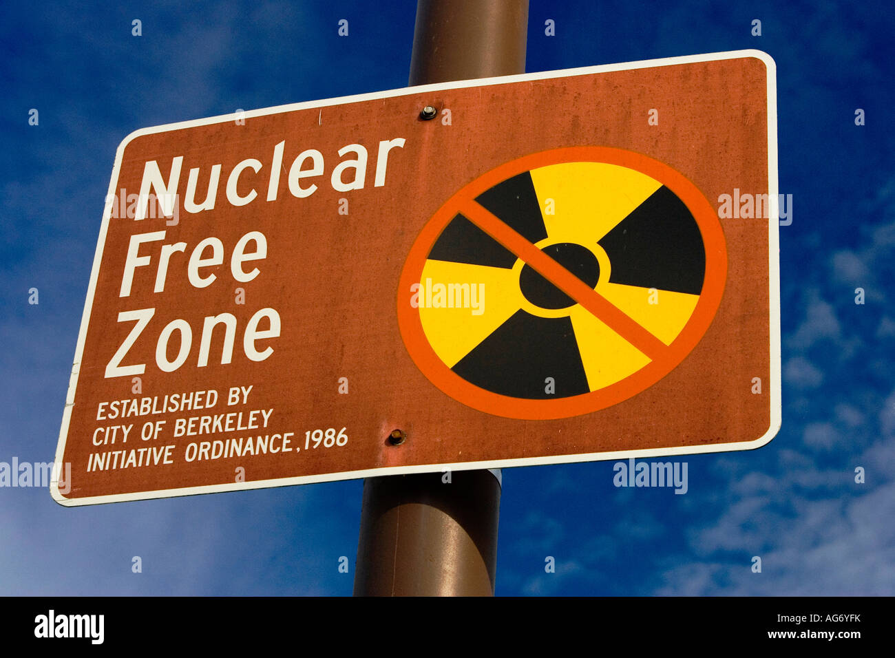Berkeley California Nuclear Free Zone sign - Stock Image