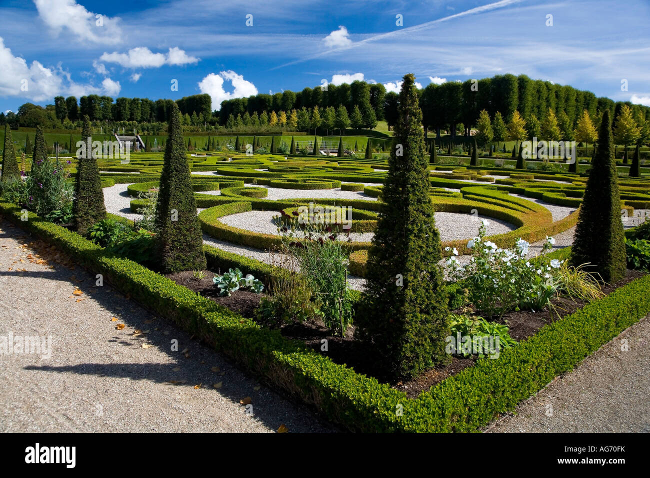 The baroque style garden at Frederiksborg Castle - Stock Image