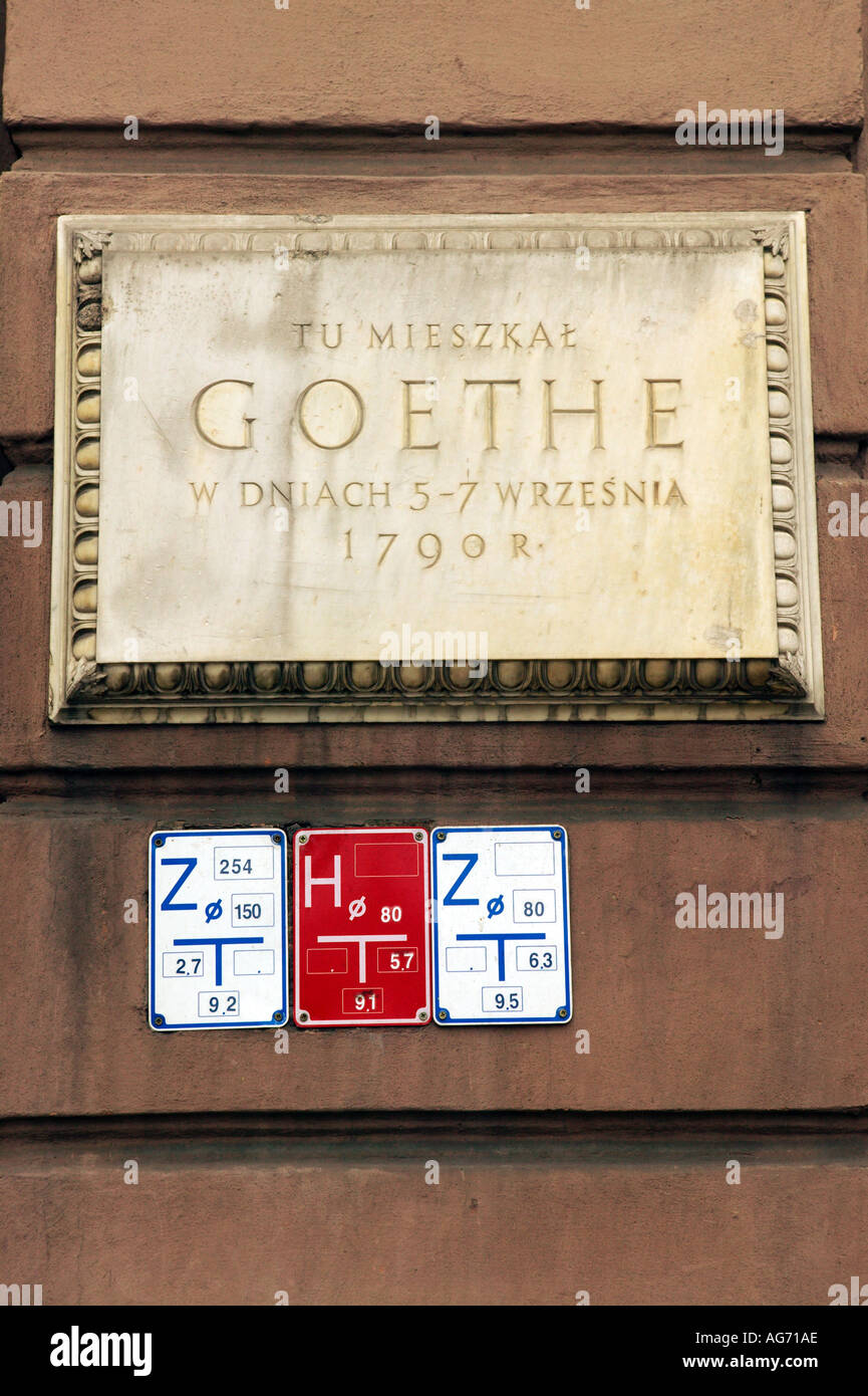 Poland Cracow Krakow plaque on wall commemorating GOETHE and signage for services electric and water - Stock Image