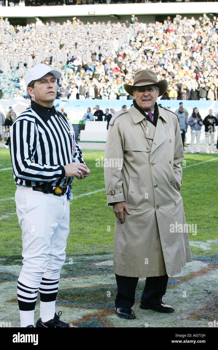 donald rumsfeld at the army navy football match in philidelphia - Stock Image