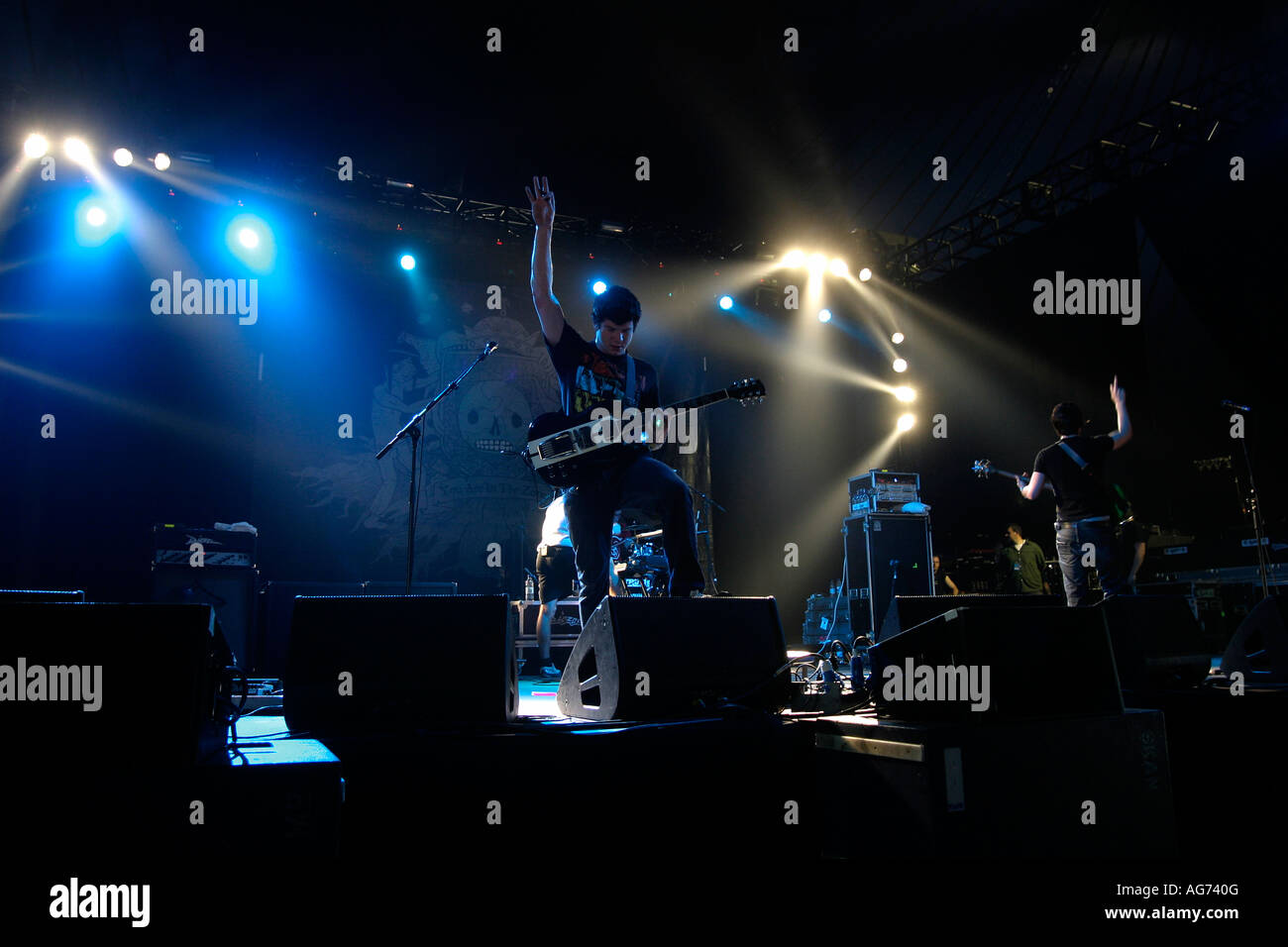 Enter Shikari Post hard core band from St Albans, Download Rock Festival at Donnington Park Leicestershire, Roughton - Stock Image