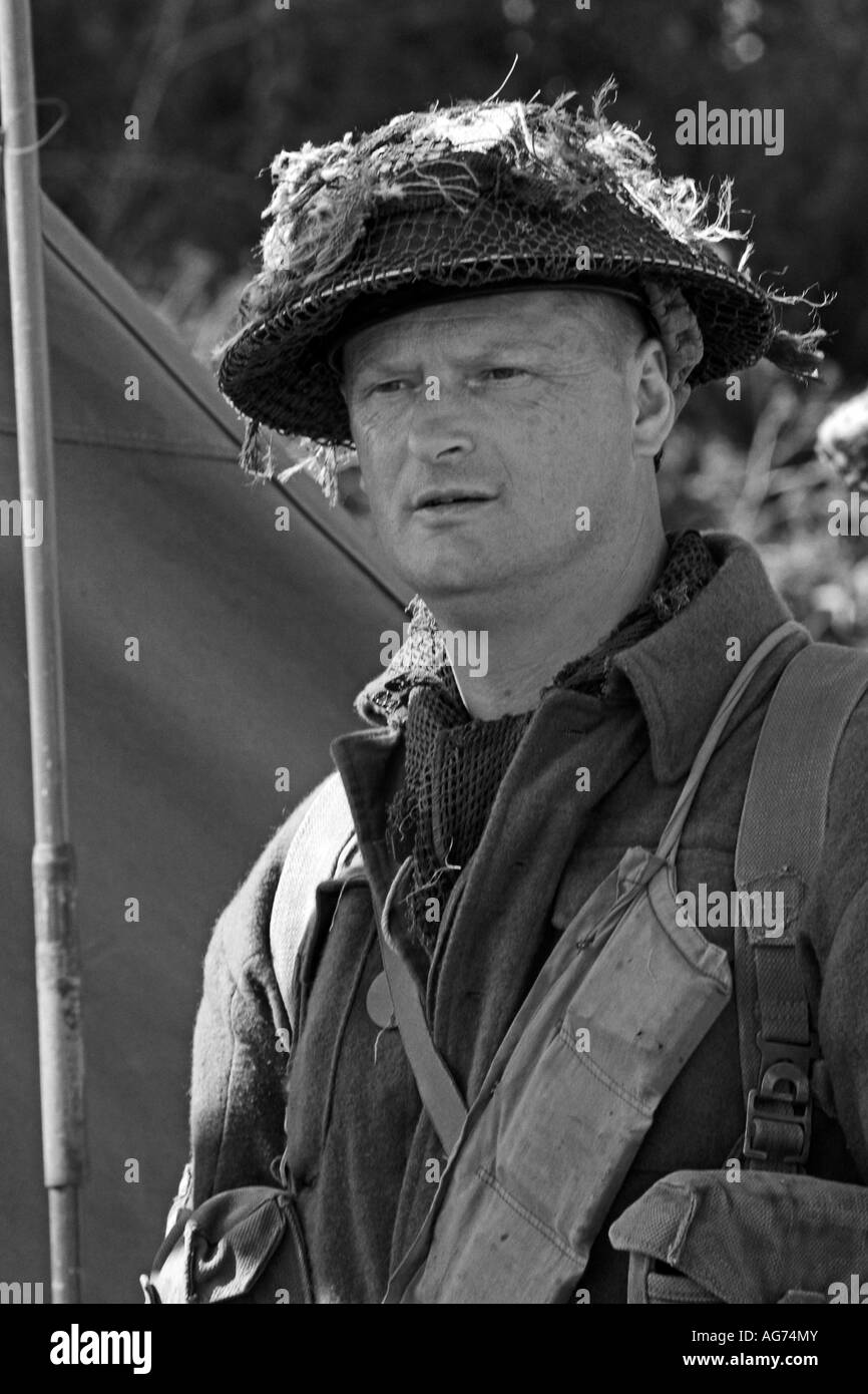 Portrait of a WW2 British Army Infantry soldier in Normandy France 1944 - Stock Image