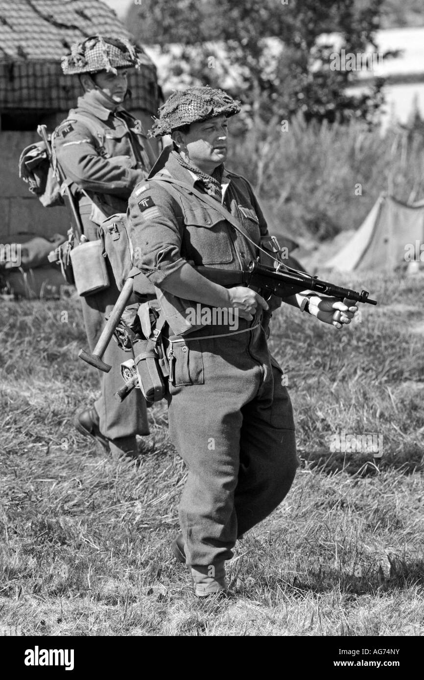 British Army Infantry soldiers in Normandy France - Stock Image
