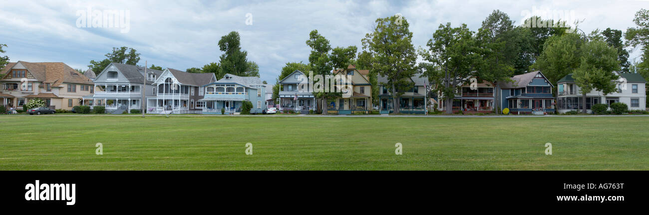 Panoramic view of Victorian cottages in Thousand Island Park on Wellesley Island in the Thousand Island St Lawrence - Stock Image