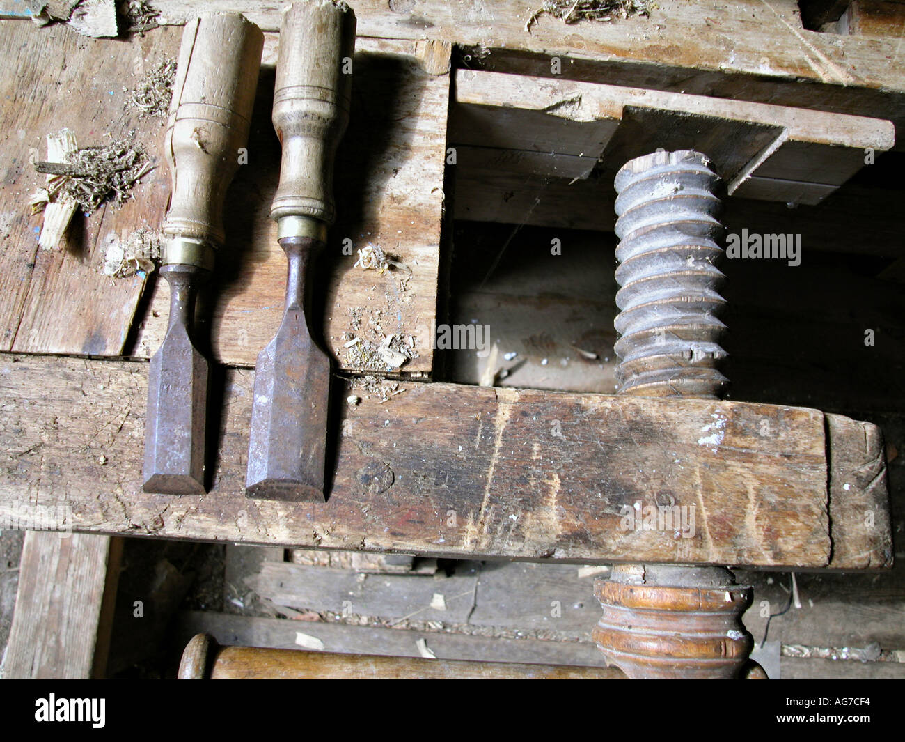 old screw clamp with crow bar Stock Photo