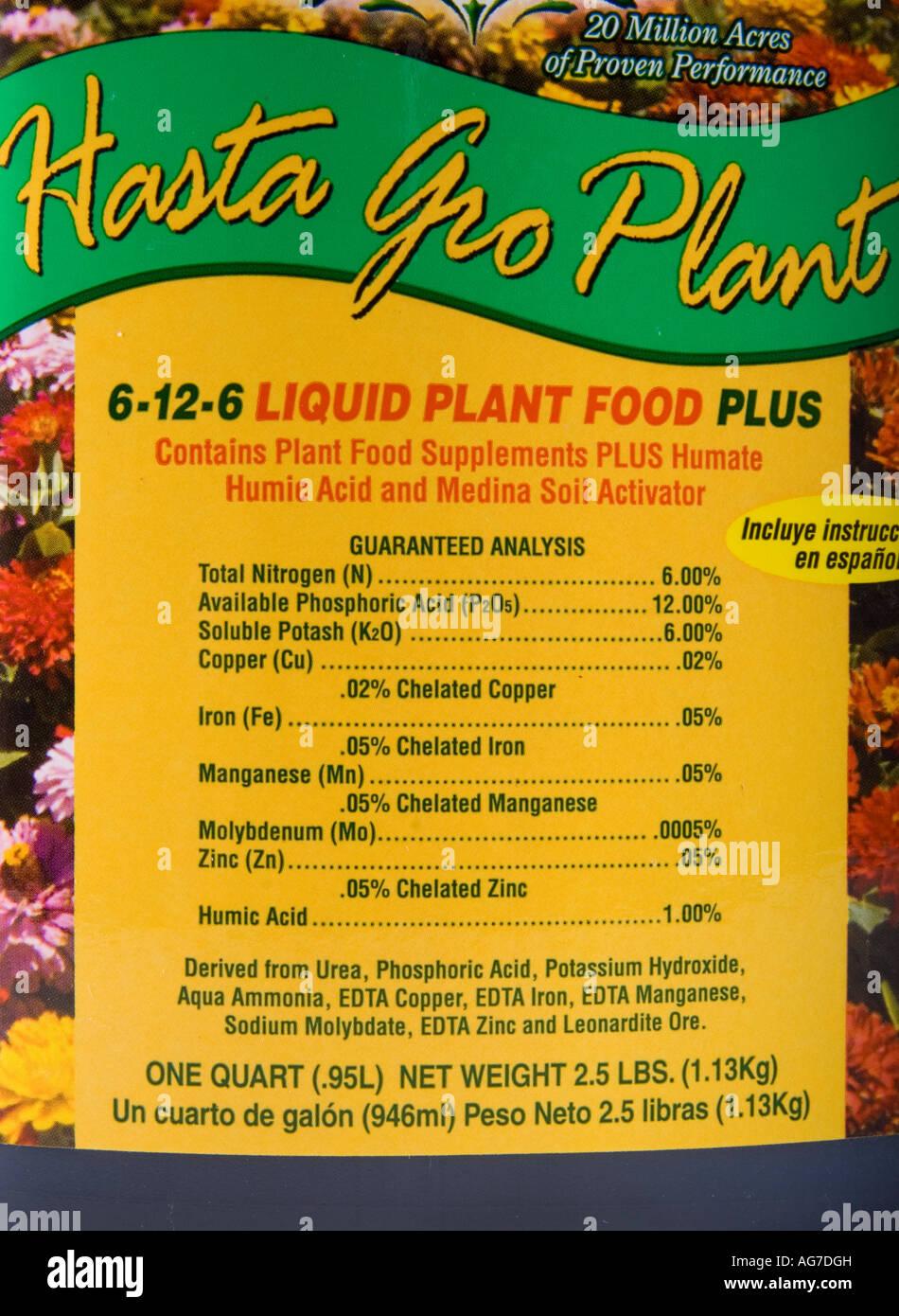 Label from a bottle of Hasta Gro Plant liquid fertilizer Stock Photo