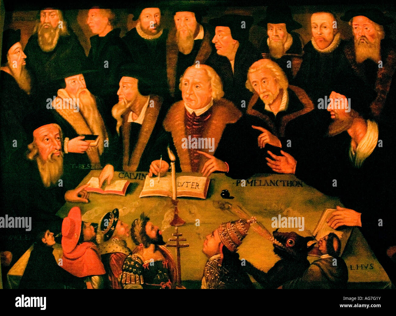 Luther in crisis with reformation 1625 1650 Centre Luther at the right Calvin Melachthon - Stock Image