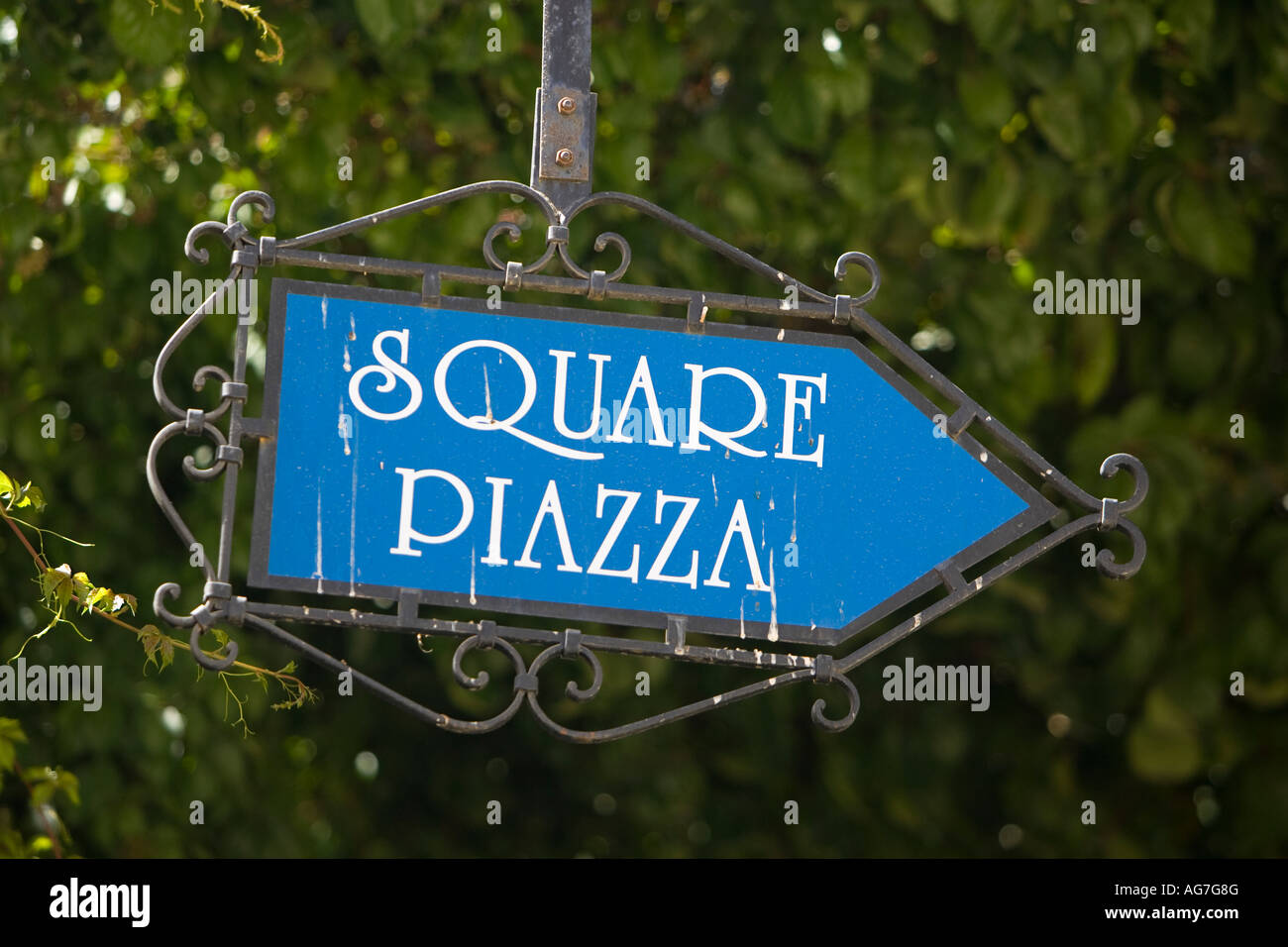 Metal sign soiled with bird droppings for the square or piazza in Lindos on the Greek island of Rhodes - Stock Image