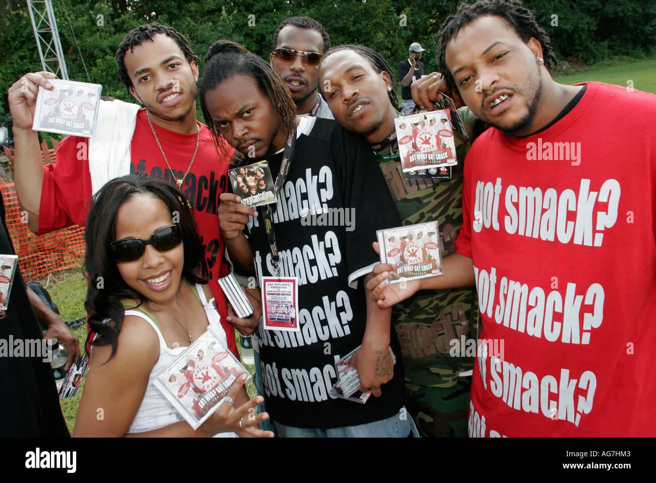 Huntsville Alabama Black Arts Festival rap group performers musicians Smack - Stock Image