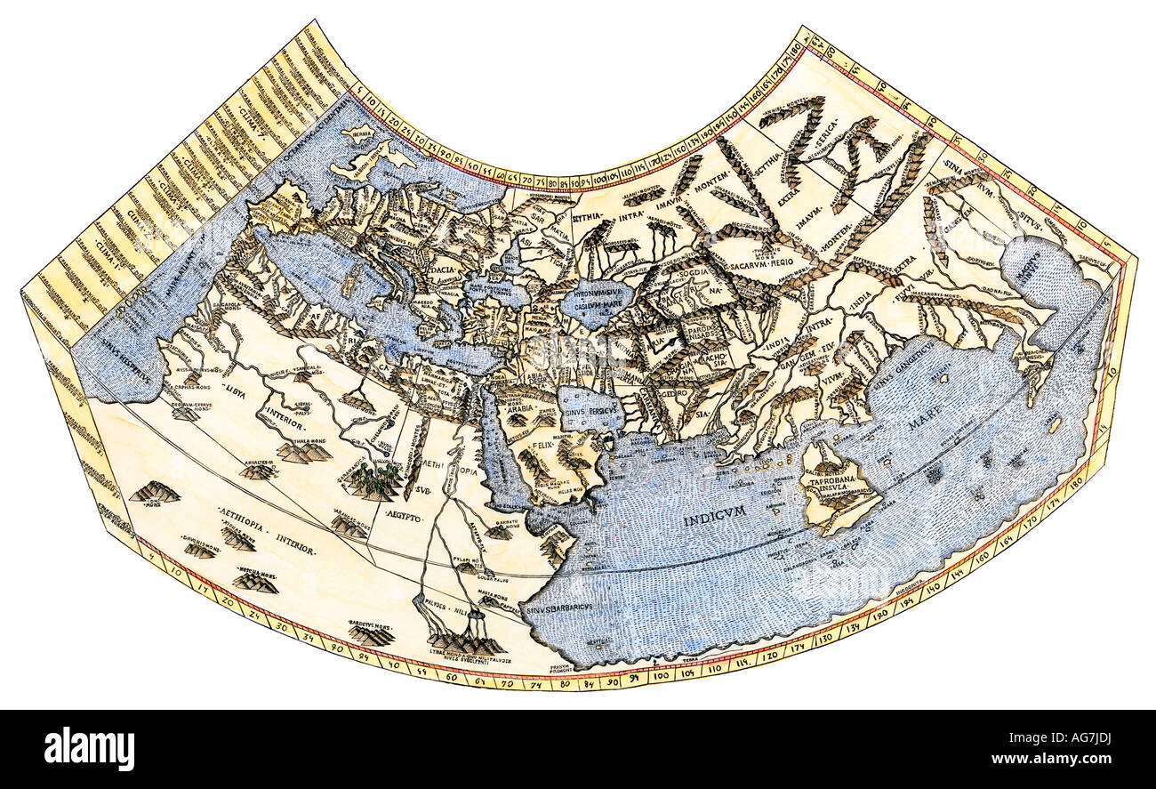 Ptolemy map of the world a concept of the flat earth stock photo ptolemy map of the world a concept of the flat earth gumiabroncs Gallery