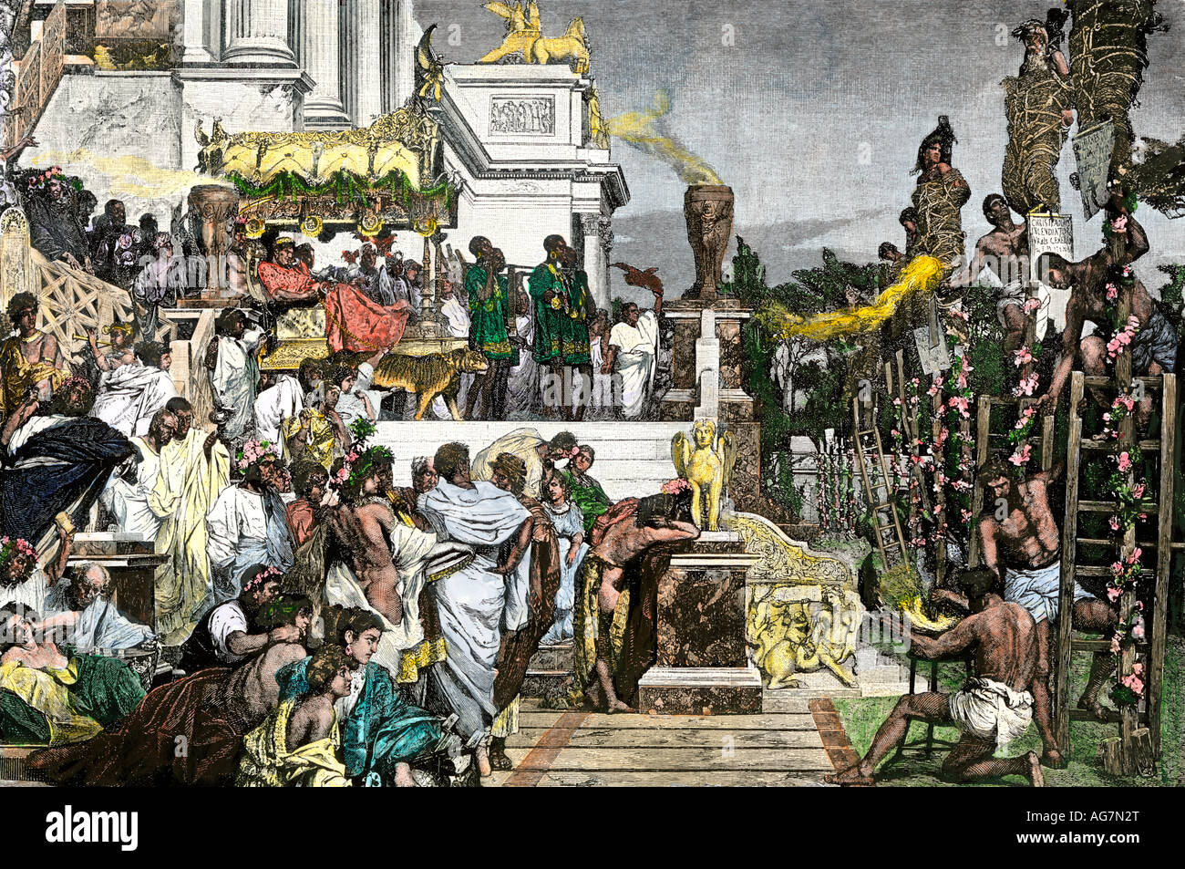 Roman Emperor Nero burning Christians as torches. Hand-colored woodcut - Stock Image