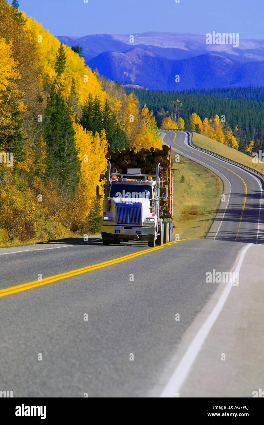 Logging truck in Alberta, Canada Stock Photo