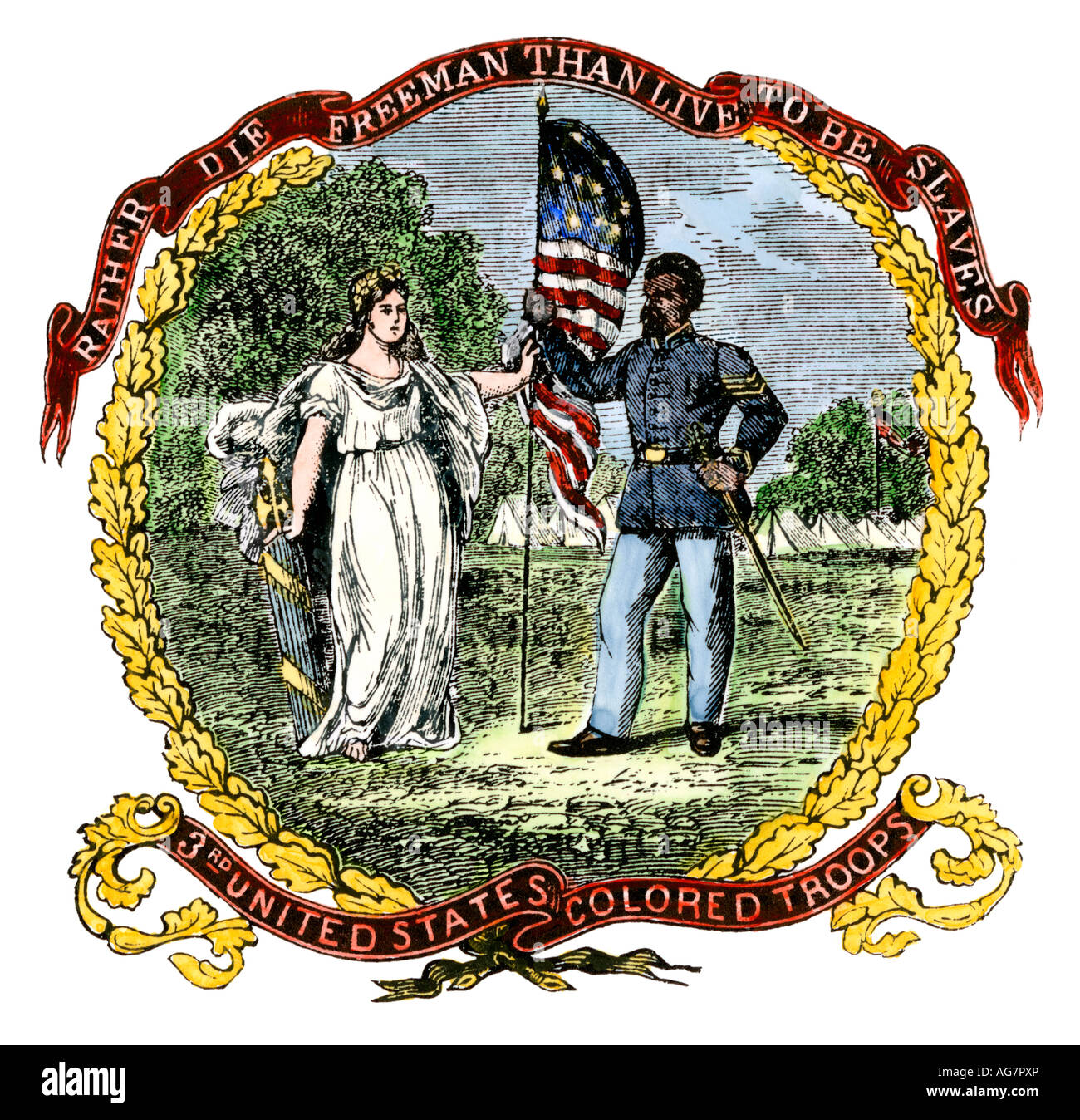 Banner of the  an African American regiment in the Civil War. Hand-colored woodcut - Stock Image