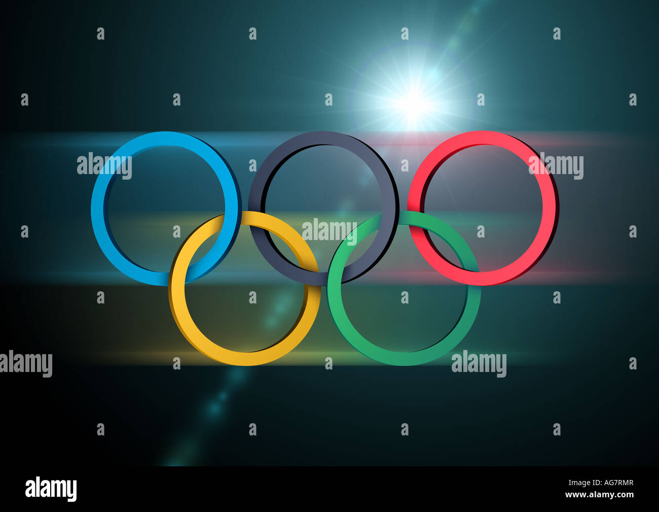 Olympische Ringe nur redaktionell verwendbar Olympic rings for editorial use only Stock Photo