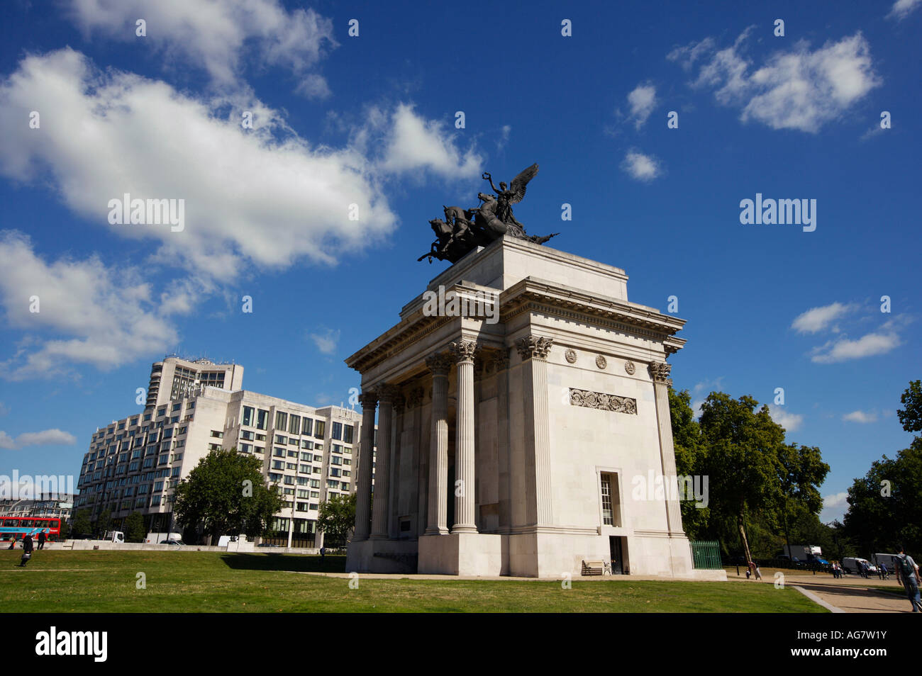 The Wellington Arch on Hyde Park Corner in London UK - Stock Image