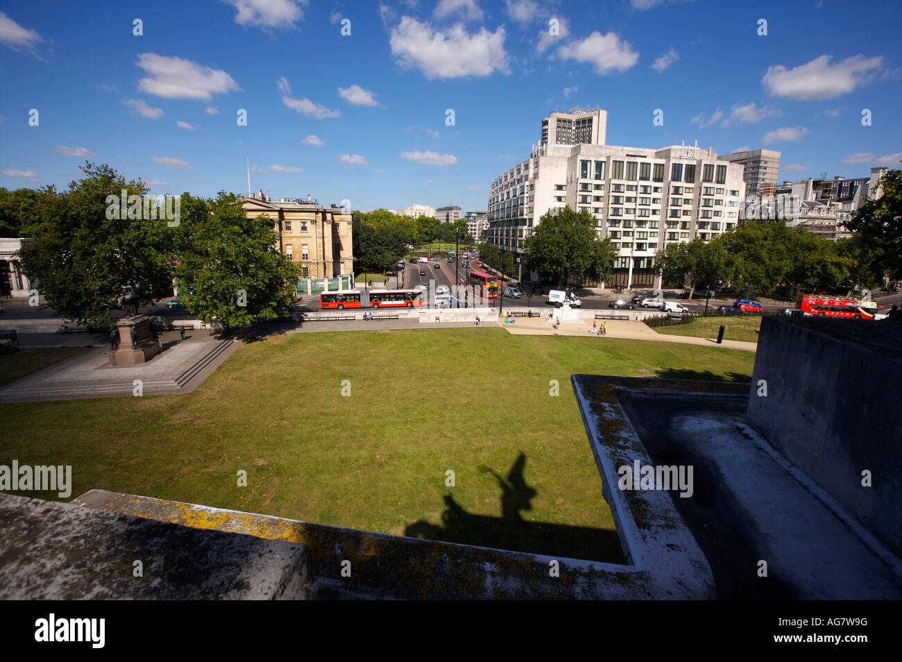 The view from The Wellington Arch on Hyde Park Corner in London UK towrads Park Lane and Apsley House - Stock Image