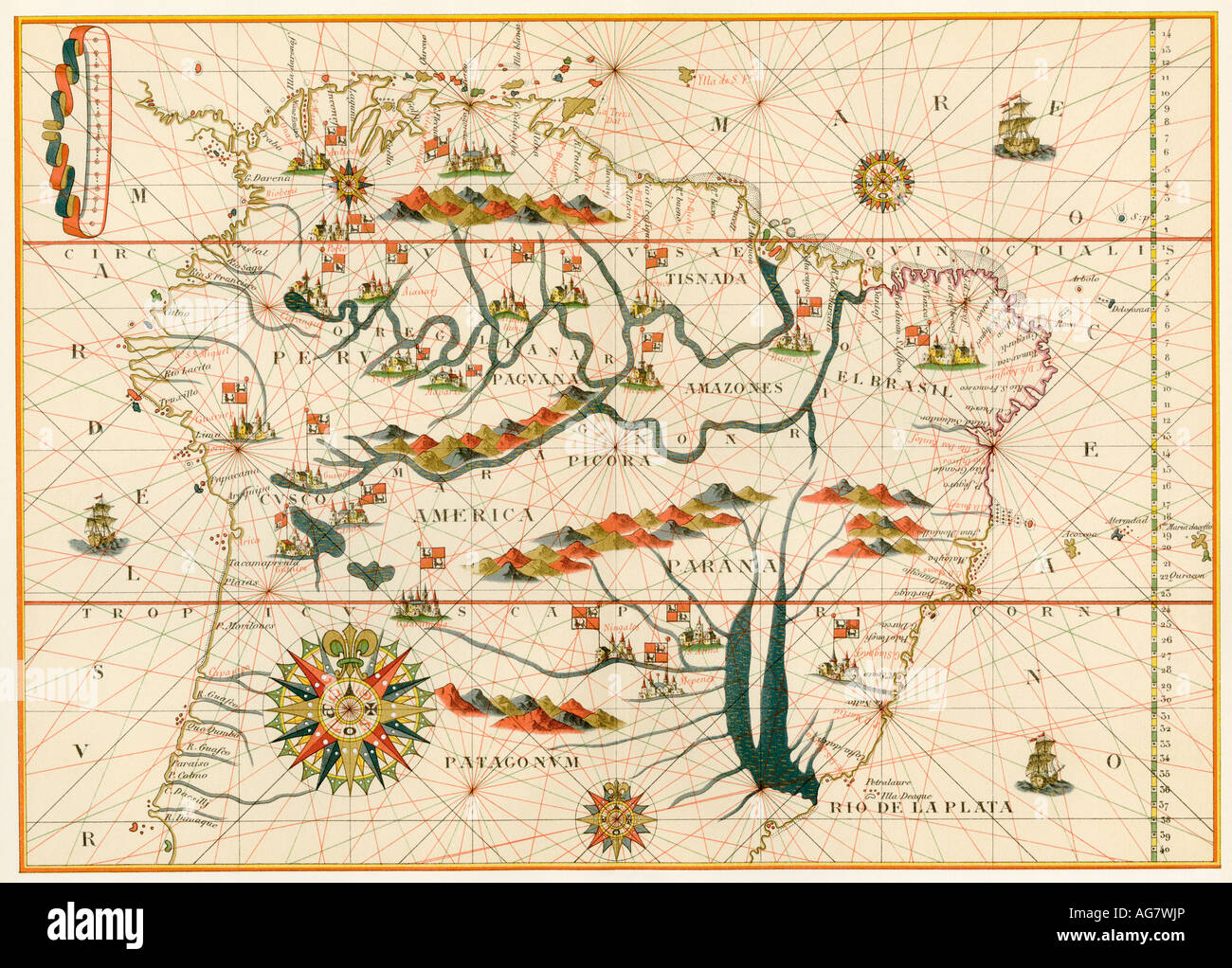 Map of America from the Spanish atlas executed at Messina by Joan Martines 1582. Color lithograph - Stock Image