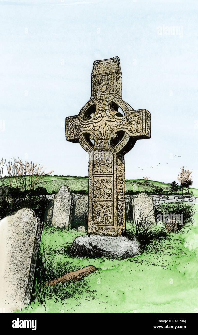 Sun wheel Celtic cross at Monasterboice Ireland. Hand-colored woodcut - Stock Image