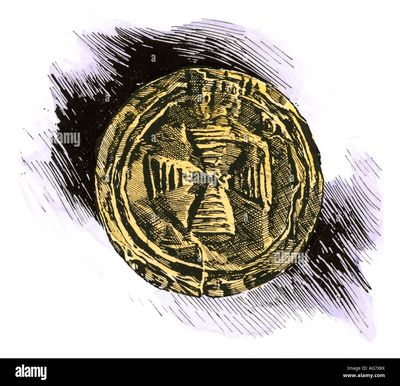 Hammered gold spangle with pagan Celtic sun cross, Ireland. Hand-colored woodcut - Stock Image